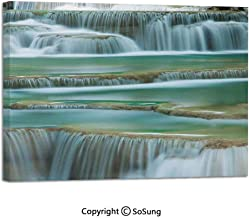 Modern Salon Theme Mural Waterfall Close Up Picture Thailand Traveling Vacation Theme Image Painting Canvas Wall Art for Home Decor 24x36inches Teal White Light Brown