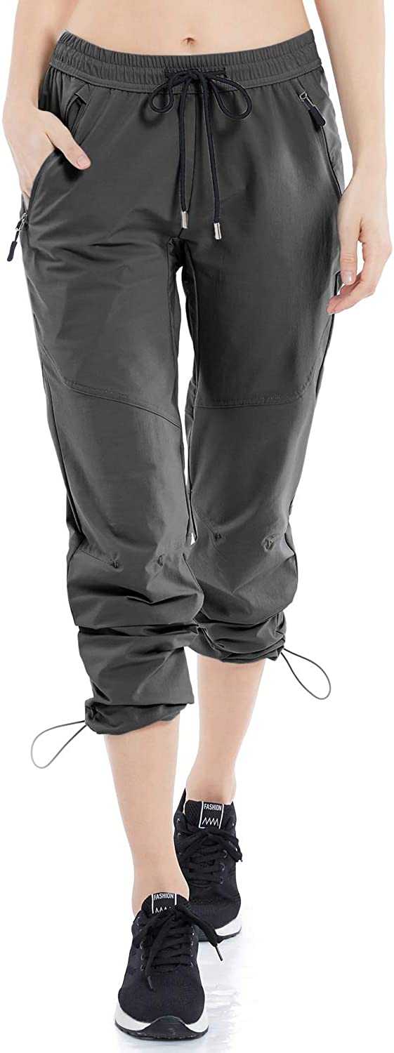 GMTTFOUR Womens Outdoor Hiking Pants Lightweight Quick Dry Cargo Capri Pants Water Resistant UPF 50 Zipper Pockets