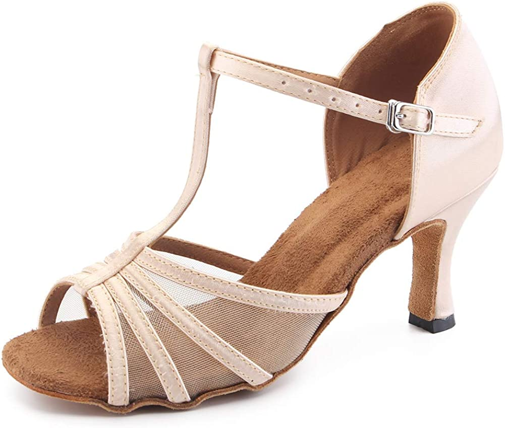 Misu Women's Open Toe Sandals T Strap Latin Salsa Tango Practice Ballroom Dance Shoes 3
