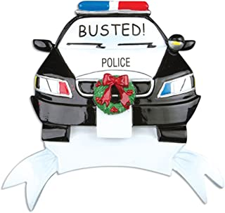 Personalized Police Car Christmas Tree Ornament 2019 - Cop Cruiser with Red Blue Lights Wreath Busted! Radio Mobile Patrol RMP Tickets New Job Agent Profession Gift Year - Free Customization