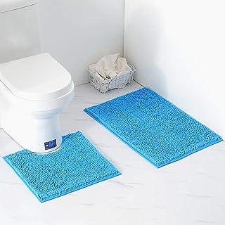 VARWANEO Bathroom Decor Chenille Fluffy Bathroom Rugs Sets 2 Piece,20x32 Luxury Soft Plush Bath Rug +20x20 U-Shape Toilet ...