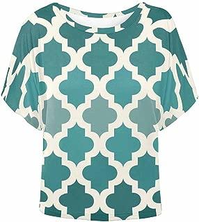 INTERESTPRINT Women O-Neck Batwing Blouse Tops Casual T-Shirt Flamingo