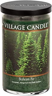 Village Candle 106024383 Balsam Fir 24 oz Glass Tumbler Scented Candle, Large Green