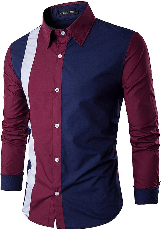 LEIYAN Mens Tailored Dress Shirts Classic Long Sleeve Regular Fit Collision Button Down Business Shirts