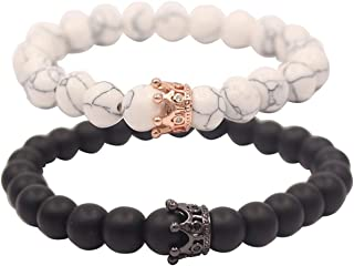 YUGDRUZY Distance Couple/Friendship Stretch/Adjustable Natural Black Matte Agate Onyx/Lava Stone and White Howlite Bracelets with Jewelry Bag & Meaning Card