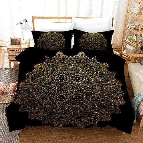771 Duvet Cover Sets 3D Black Gold Printing Bedding Set 100% Polyester 1 Duvet Cover And 2 Pillowcases 3pcs G-US Queen228x228cm