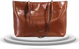 Kricson Echt Leder Taschen Damen mit Vielen Fächern Handtasche Wasserabweisend Schultertasche Mädchen Damentaschen Groß