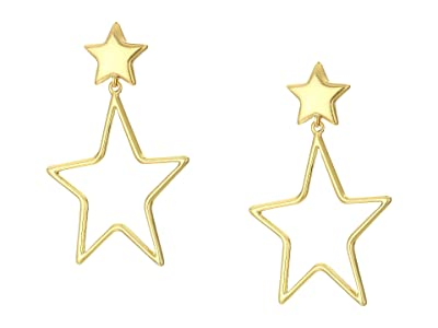 Madewell Filled in Wire Star Drop Earrings (Vintage Gold) Earring