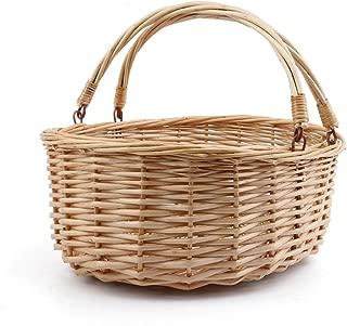 MEIEM Wicker Basket Picnic Basket Gift Baskets Empty Oval Willow Woven Basket Easter Basket Large Storage Basket Wine Basket with Handle Egg Gathering Wedding Basket (Natural)