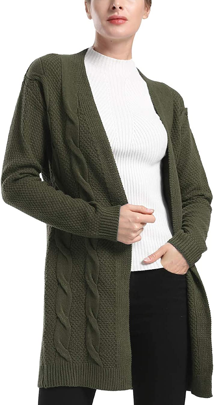 Rocorose Women's Boho Long Sleeves Open Front Cable Knited Cardigan Pointelle Pullover Sweater
