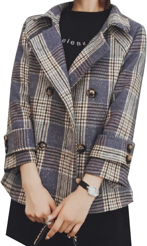 Vska Women Plaid Loose Woolen Jacket Outwear Double Button Trench Coat