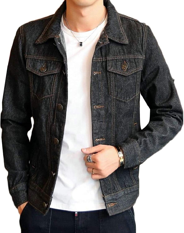 2b3e568f2cf3 QD-CACA Mens Slim Denim Button Lapel Long Sleeve Sleeve Sleeve Trucker  Jacket Coat 3ed749