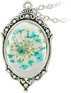 FM FM42 Vintage Style Dried Flowers Encased in Simulated Resin Oval Pendant Necklace