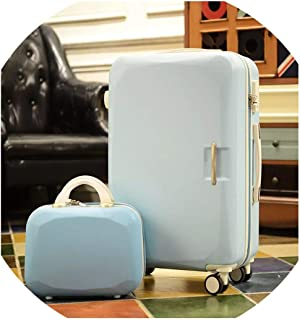 Fashion Wheels Suitcases And Travel Bags Valise Cabine Valiz Koffer Suitcase Maletas Carry On Rolling Luggage,Blue(Set),22