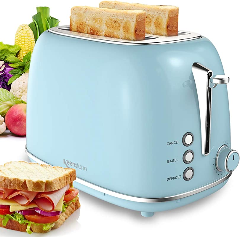 Toaster 2 Slice Compact Bread Toasters With 6 Browning Settings Stainless Steel Housing Bagel Defrost Cancel Function Removable Crumb Tray Blue