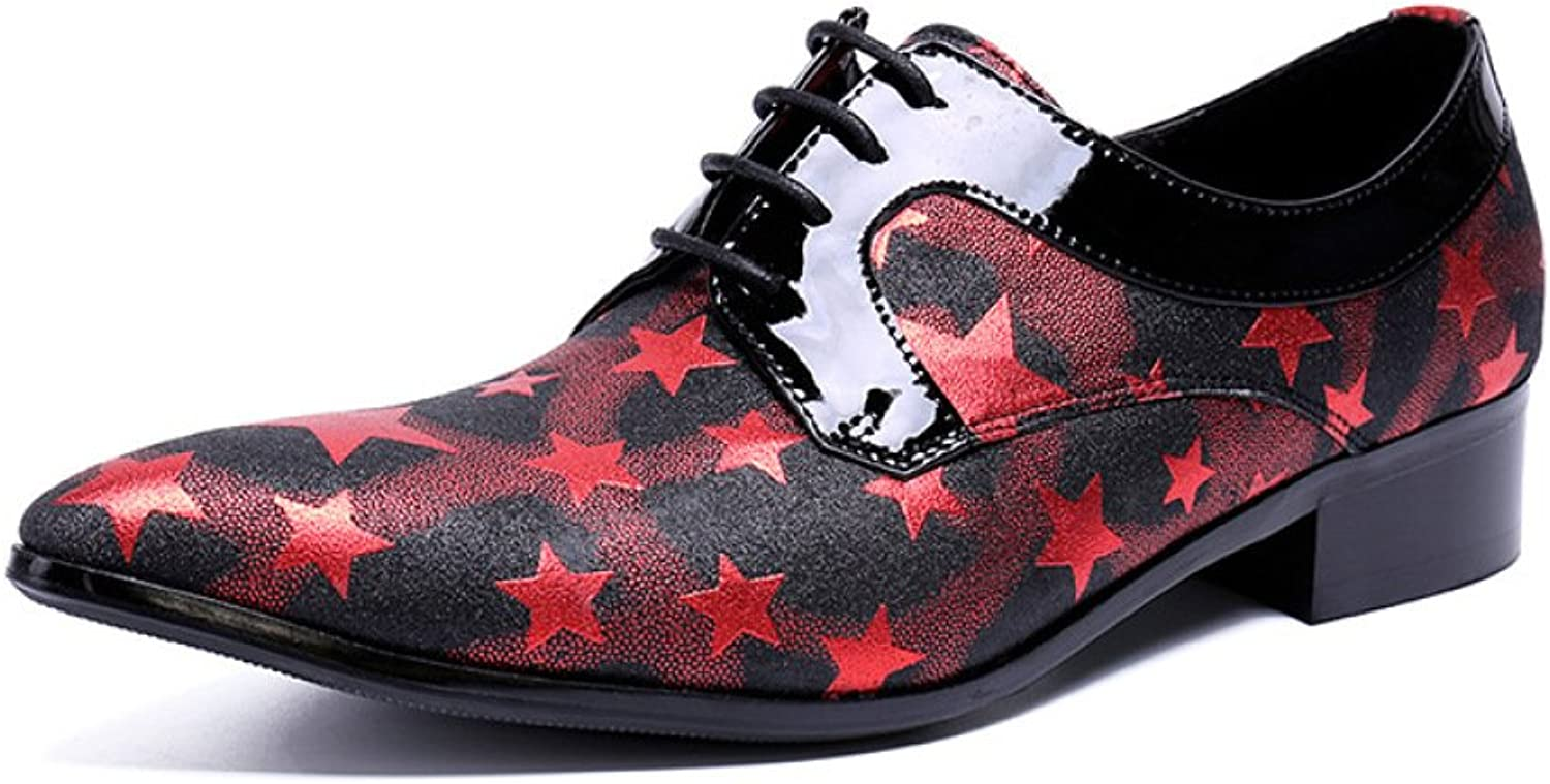 QINGMM Men Pointed Toe Oxford Trend Hairdresser shoes Low Heel shoes Trend Novelty Party shoes Red
