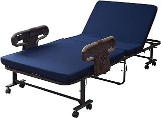 山善 折りたたみベッド 幅98.5×奥行201×高さ65cm 耐荷重 90kg 高反発 大きめ手すり(クッション付き) 14段階リクライニング ポケット 高床 組立かんたん ネイビー BAS-1S(WNV)RGK