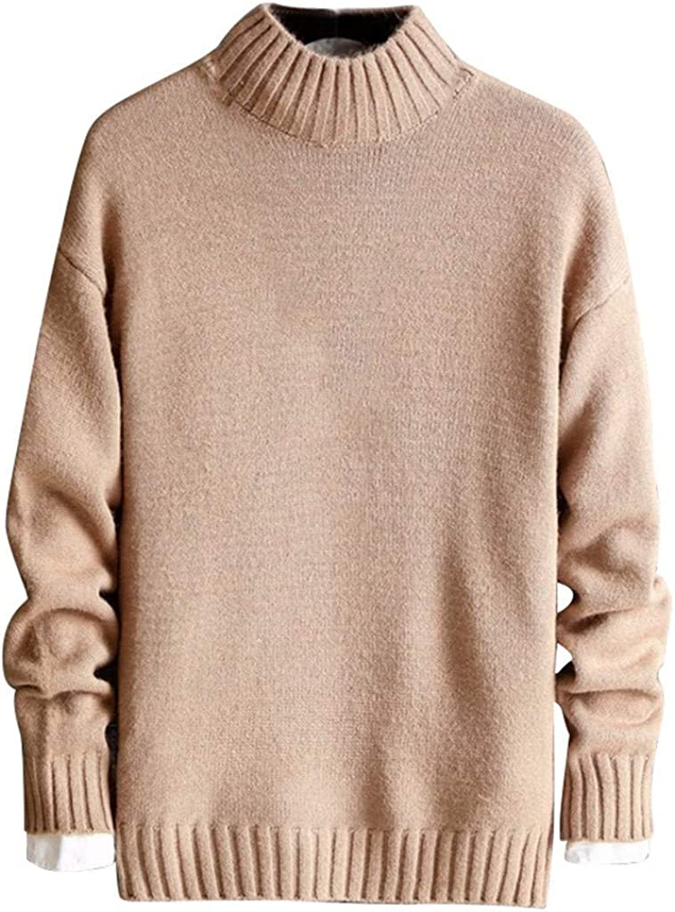 FORUU Men's Pullover Sweater Turtleneck,Comfy Soft for Men Fashion Trendy Solid Simple Thicken Tops