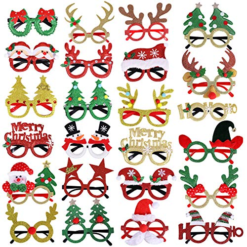 Max Fun 24pcs Christmas Glitter Party Glasses Frames with 24 Designs for Christmas Party Favors Holiday Favors (One Size Fits All)