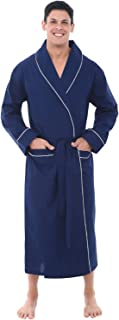 Alexander Del Rossa Mens Solid Cotton Robe, Lightweight...
