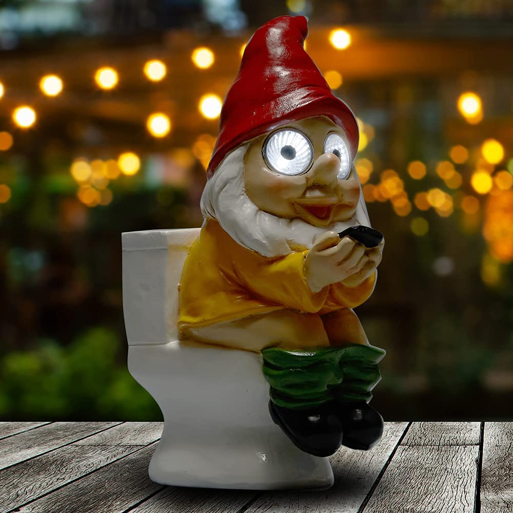 Yiosax Outdoor Garden Décor- Funny Garden Gnomes Figurine on The Throne Reading Phone with Solar Powered Lights in Its Eyes Resin & Waterproof(9.06