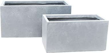 Kante RF0104AB-C60611 Lightweight Concrete Modern Long Low Granite Outdoor, Set of 2 Planter, Slate Gray