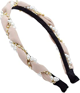 1 Pcs Women Diamond Pearl Chiffon Headband Holder Hair Band Crystal Headwear For Girls Womens,Champagne