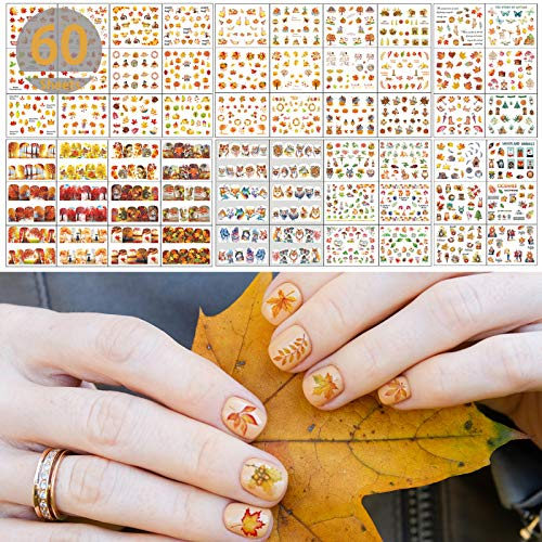 TailaiMei 60 Sheets Fall Nail Art Stickers Decals, Thanksgiving Water Transfer Autumn Nail Decorations, Design for Maple Leaves Pumpkin Turkey(1178 Pcs)