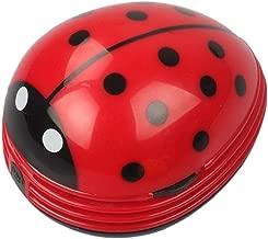 Mini Portable Handheld Cordless Tabletop Crumb Sweeper Desktop Dust Vacuum Cleaner Cute Beetle Ladybug Battery Operated (Red)