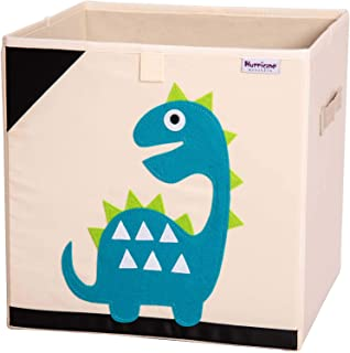 Hurricane Munchkin Kids Toy Box. Soft Fabric Toy Storage Bin for Cube Organizer. Collapsible Baby Toy Box, 13 inch Cube for Toddlers, Girls, Boys Nursery & Playroom (Dinosaur)
