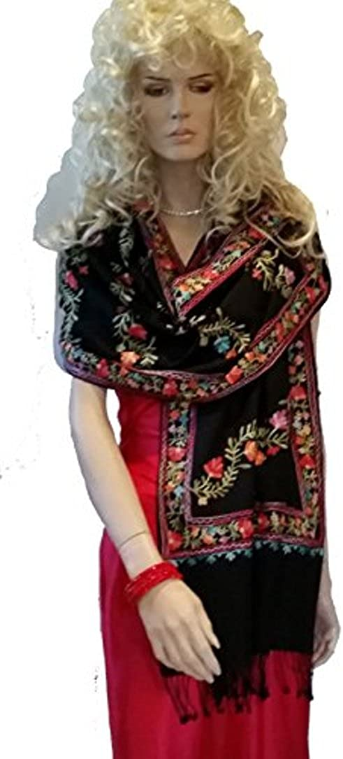 Stole Cashmere Pashmina WRAP with All Over Crewel Embroidery Black