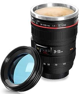 Taza de café,Sebami Taza de la lente con tapa Taza de Acero Inoxidable taza del viaje de la cámara para café, leche,té y agua.