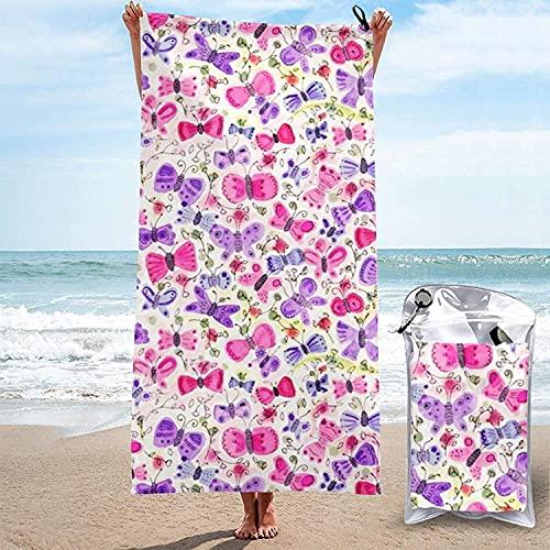 Toalla de Microfibra de Secado rápido, Happy Butterflies Toallas de baño Ultra Suaves para Acampar, Nadar, Playa, baño, 31.5 'x63