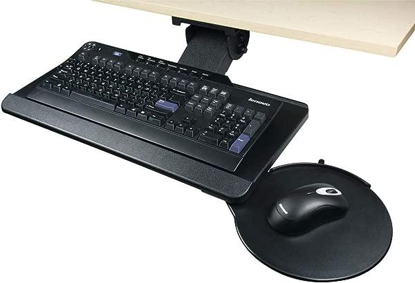 Hafele Keyboard Arm And Tray Combo With Knob Adjustment 360 Swiveling Range Black With Mouse Pad