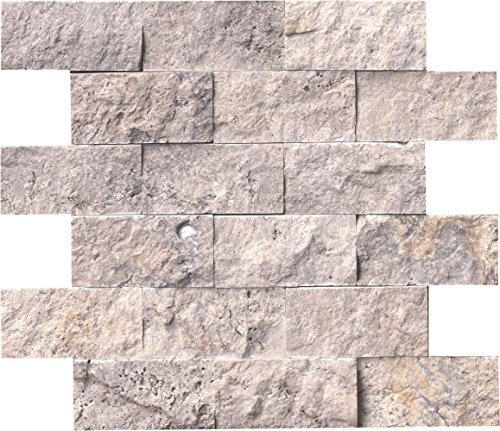 MSI Linea Blend of Marble and Limestone Split Face Tile for Kitchen Backsplash, Wall Tile for Bathroom, Shower Wall Tile, 12 in. x 12 in. Stone Mesh-Mounted Mosaic Wall Tile, (10 sq. ft.)