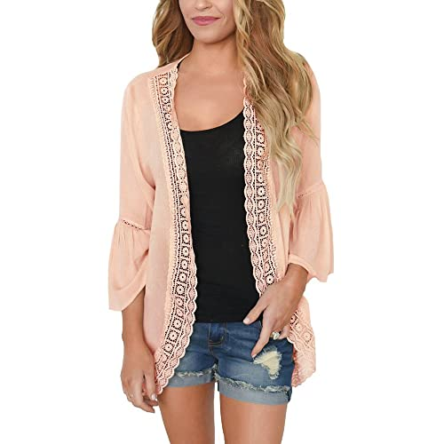 5e221af4d28 PRETTODAY Women s Ruffle Bell Sleeve Kimono Cardigans Lace Cover up Loose Blouse  Tops
