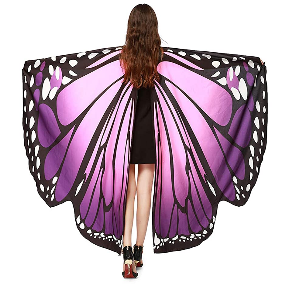 Women Butterfly Wings Shawl Scarves, Ladies Nymph Pixie Poncho Costume Accessory Party Fashion Beach Students outdoor (Purple)