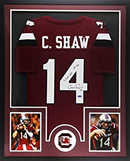 Autographed Connor Shaw Jersey - Gamecocks Framed Custom Maroon NCAA Career Stats - Autographed NFL Jerseys