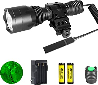 Green Hunting Flashlight, 350 Yards Waterproof Green CREE LED Predator Light Tactical Flashlights, 1000 Lumens Coyote Varmint Night Vision Green Light with Picatinny Rail Offset Mount, Pressure Switch