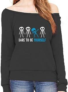 Tstars Autism Awareness Dare to Be Yourself Dabbing Skeleton Off Shoulder Sweatshirt
