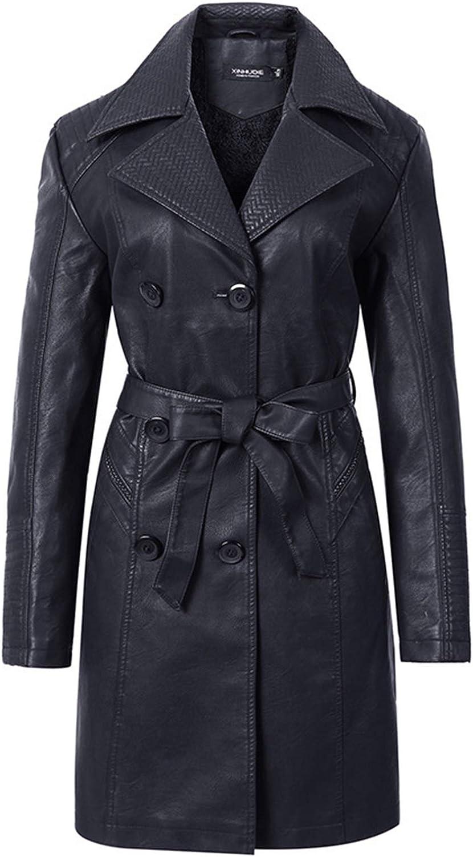 ER-JI Ladies Leather Trench Coat, Double-Breasted Jacket Lapel Coat,Black,P