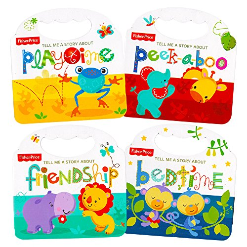 Fisher Price My First Books Set of 4 Baby Toddler Board Books (Bedtime, Playtime, Friendship and Peek-a-Boo!)