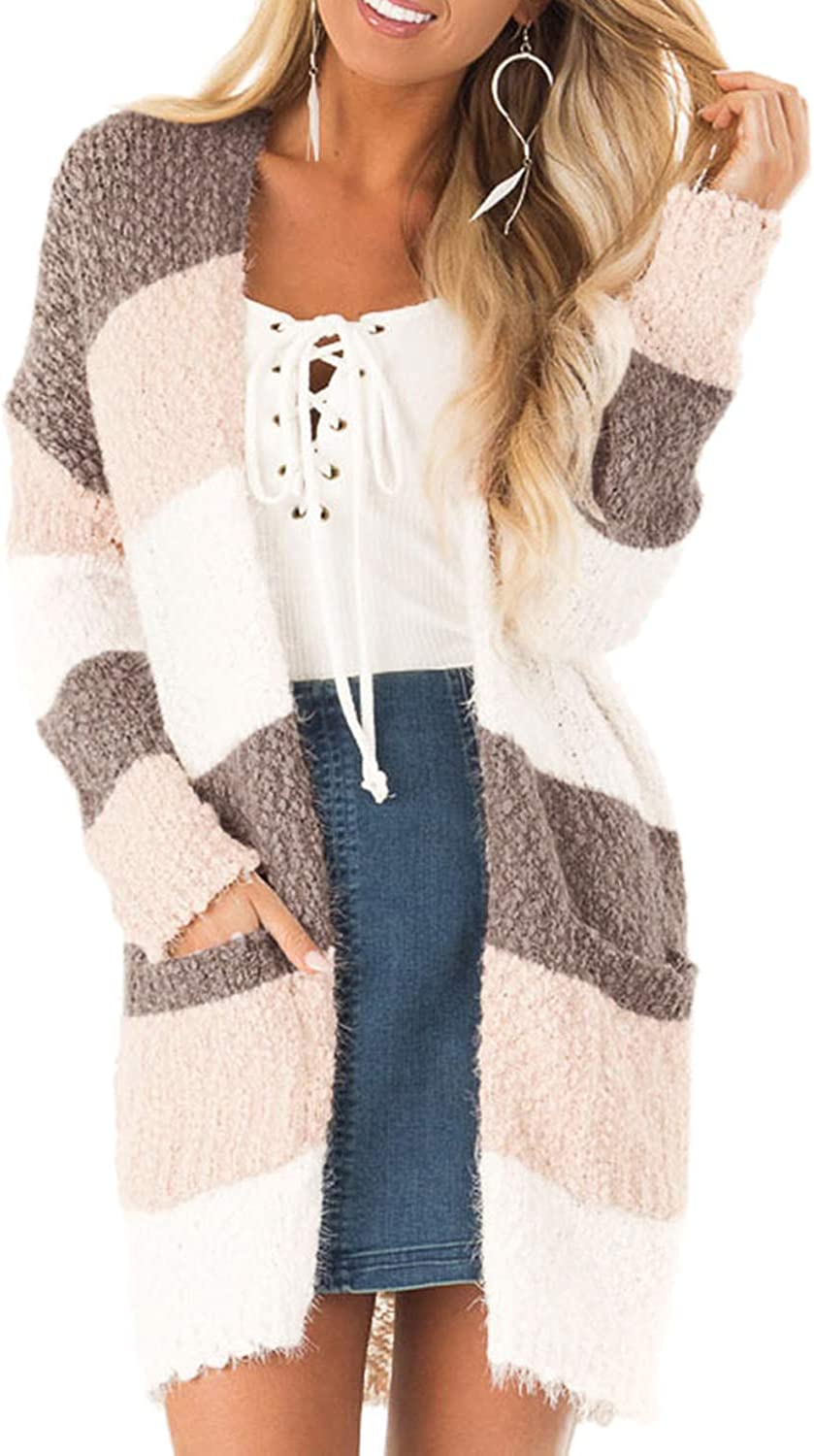 Women Long Sleeve Color Block Knit Cardigan, Open Front Loose Fall Sweaters Outwear Coat with Pocket