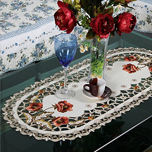 USTIDE Oval Embroidery Rose Table Doily 15.7