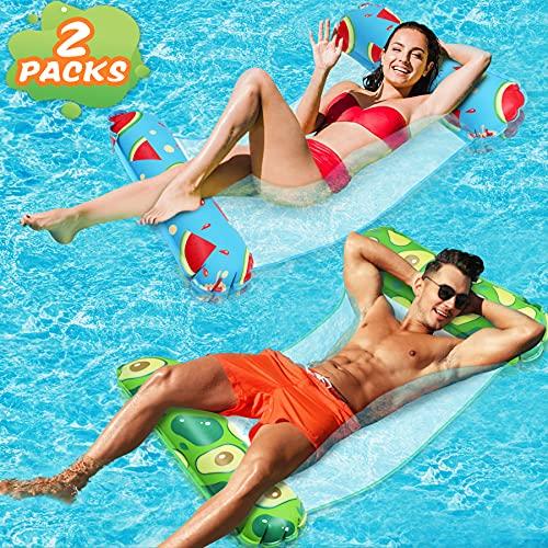 lenbest 2 Pack Amaca Gonfiabile, Galleggiante Gonfiabile Pieghevole Letto Lounge Materassino Sedia Sdraio da Mare Piscina Spiaggia Giardino per Adulti Bambini (Rosso & Verde)