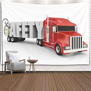 SOAUTY Tapestry Wall, Tapestry Wall Hangings 80X60Inch Word Truck Trailer Driving Big D a Illustrate Living Room Bedroom Thanksgiving Christmas Halloween Day Fall Tapestry Wall Covering Home Décor