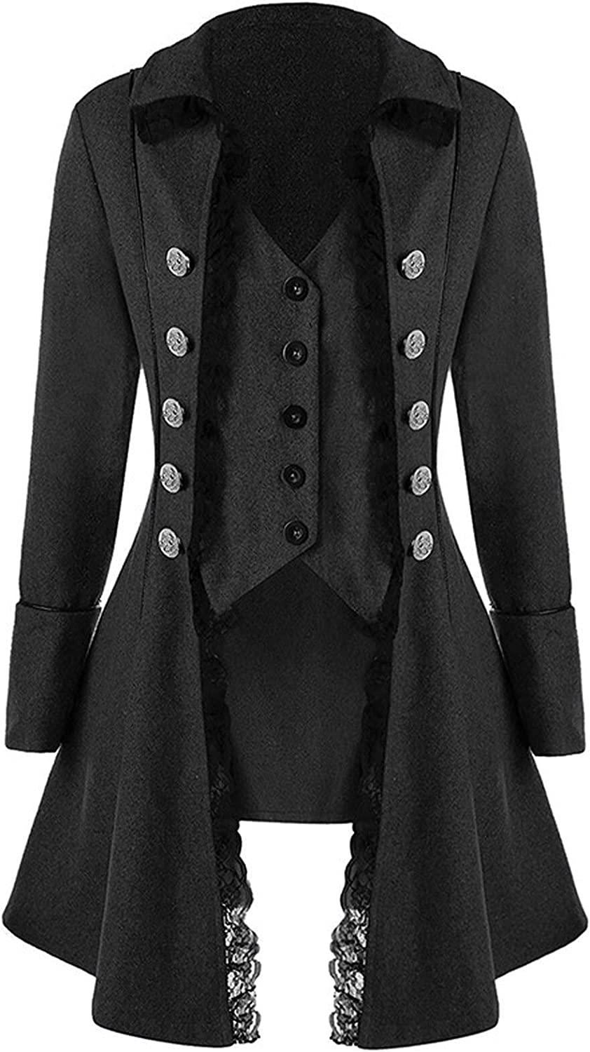 VonVonCo Vintage Casual Tops for Women Long Sleeve Vests Lace Trim Button Up Vintage Irregular Tail Coat Outwear