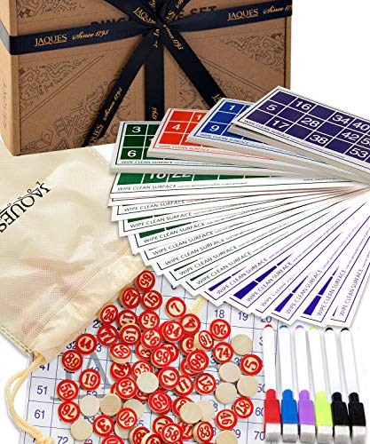 Jaques of London Bingo - Bingo Spiele Set - Bingo Karten mit Bingo Balls / Counters - komplett mit Draw Bag