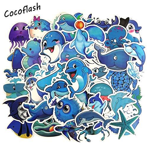 Blauwe Ocean Fis dolfijne cartoon dier graffiti JDM sticker voor DIY gitaar motorfiets laptop bagage skateboard snowboard 49 stuks