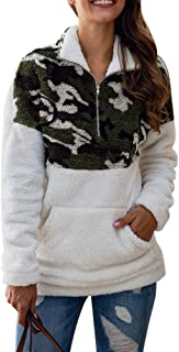 Uni Clau Women's Camo Long Sleeve 1/4 Zipper Sherpa Fuzzy Fleece Pullover Outwear Coat Sweatshirt with Pocket White